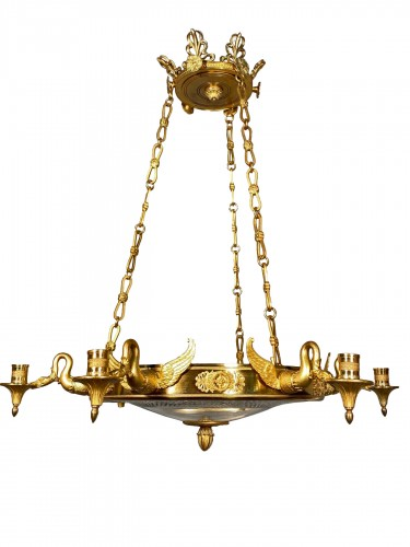 Bronze crystal chandelier with swan necks, Sweden circa 1830