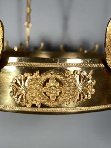 Lighting  - Bronze crystal chandelier with swan necks, Sweden circa 1830