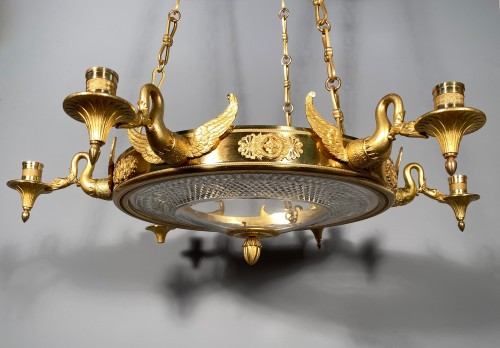 Bronze crystal chandelier with swan necks, Sweden circa 1830 -