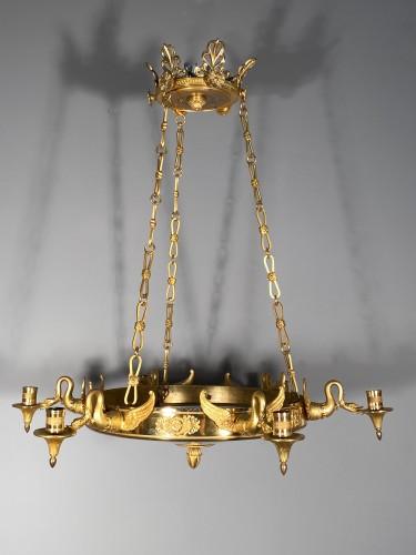 Bronze crystal chandelier with swan necks, Sweden circa 1830 - Restauration - Charles X