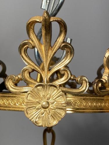 Antiquités - Bronze crystal chandelier with swan necks, Sweden circa 1830