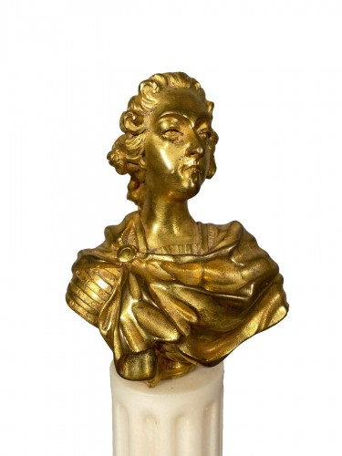 Miniature bust of Louis XV in bronze circa 1750