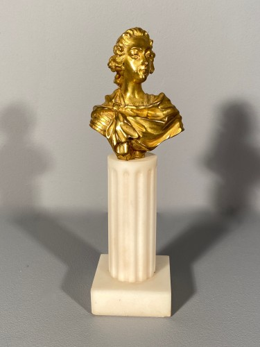 Miniature bust of Louis XV in bronze circa 1750 - Sculpture Style Louis XV