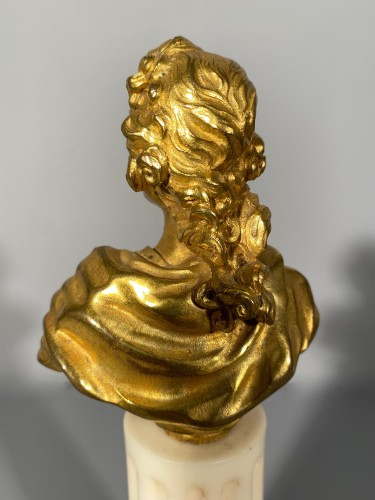 18th century - Miniature bust of Louis XV in bronze circa 1750