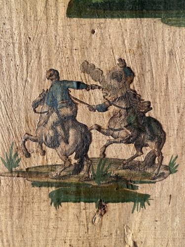 """Furniture  - Small wardrobe in """"Lacca Povera"""" the four seasons, Uzès circa 1700"""