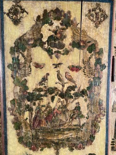 """Small wardrobe in """"Lacca Povera"""" the four seasons, Uzès circa 1700 -"""