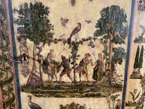 """18th century - Small wardrobe in """"Lacca Povera"""" the four seasons, Uzès circa 1700"""