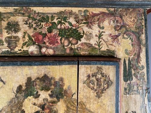 "Louis XIV - Small wardrobe in ""Lacca Povera"" the four seasons, Uzès circa 1700"