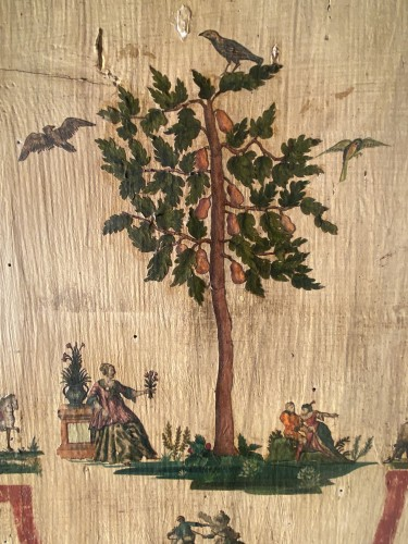 "Antiquités - Small wardrobe in ""Lacca Povera"" the four seasons, Uzès circa 1700"
