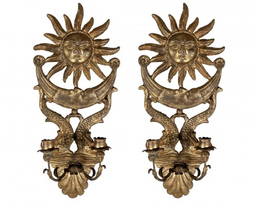 Pair of silver wood wall lights, Italy 19th century