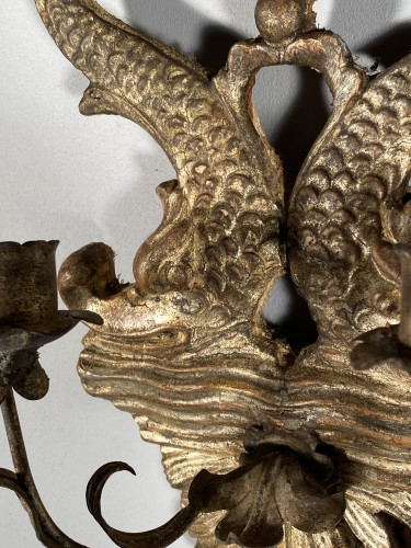 19th century - Pair of silver wood wall lights, Italy 19th century