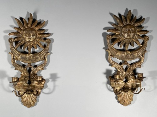 Antiquités - Pair of silver wood wall lights, Italy 19th century