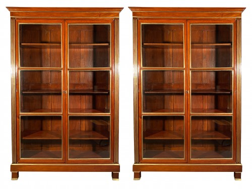 Pair of collectors' display cases in mahogany, Paris, Directoire period.