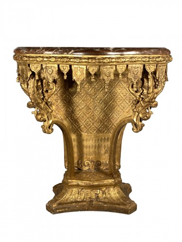Console with lambrequins in gilded wood, Louis XIV period