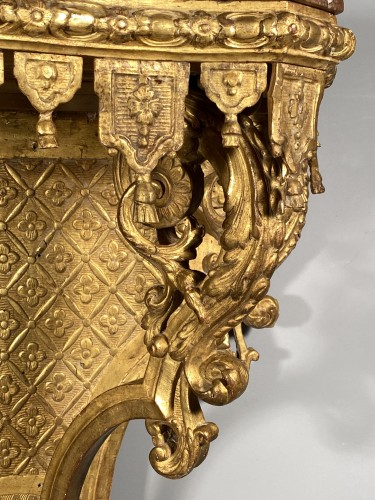 Furniture  - Console with lambrequins in gilded wood, Louis XIV period