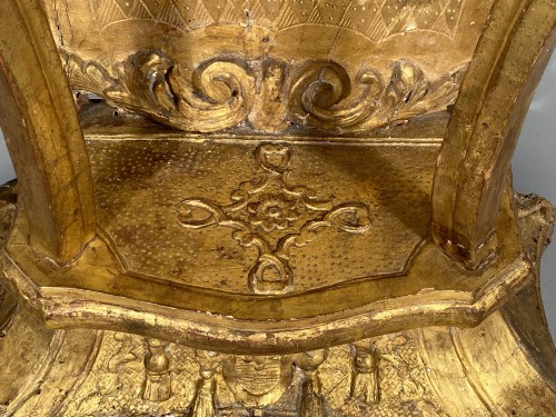 Antiquités - Console with lambrequins in gilded wood, Louis XIV period