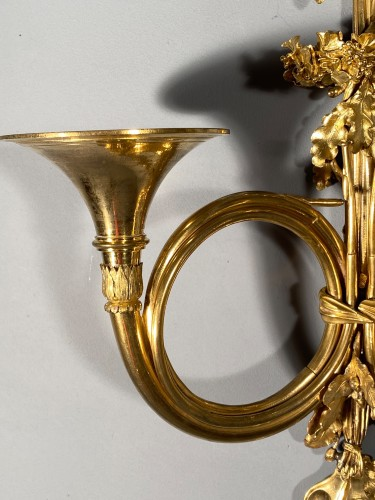 Pair of 18th century hunting horn sconces, attri to Edme-Jean Gallien -