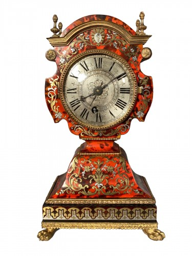 Dolls head clock in Boulle marquetry by Lenoir, Paris, Louis XIV