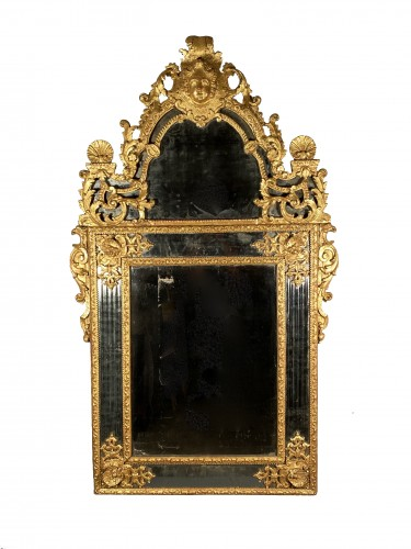 Gilt wood glazing mirror, Paris Louis XIV period