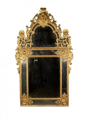 Gilt wood glazing mirror, Paris Louis XIV period