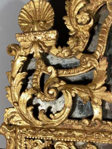 Gilt wood glazing mirror, Paris Louis XIV period -