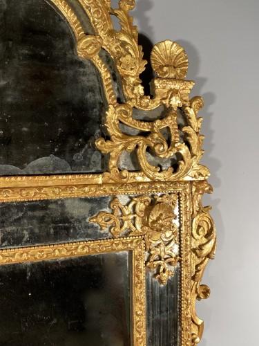 Gilt wood glazing mirror, Paris Louis XIV period - Louis XIV