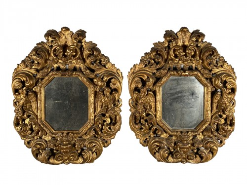 Pair of gilt wood mirrors, Aix en Provence circa 1700