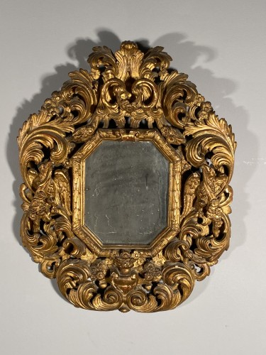 Pair of gilt wood mirrors, Aix en Provence circa 1700 - Mirrors, Trumeau Style French Regence