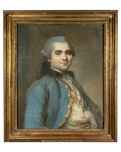 Portrait of a man with an embroidered waistcoat, Pastel circa 1760
