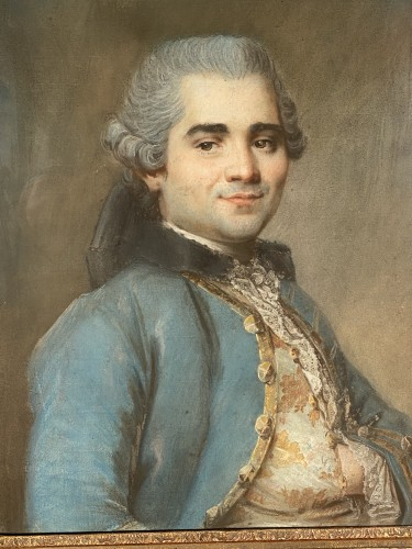 Portrait of a man with an embroidered waistcoat, Pastel circa 1760 - Paintings & Drawings Style Louis XV