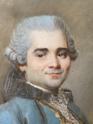 Portrait of a man with an embroidered waistcoat, Pastel circa 1760 - Louis XV