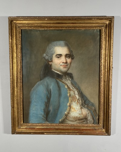 Louis XV - Portrait of a man with an embroidered waistcoat, Pastel circa 1760
