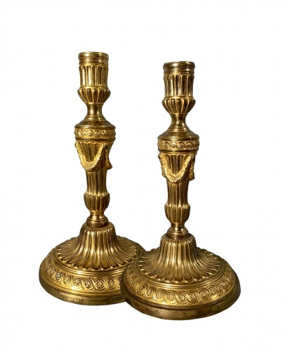 Pair of gilt bronze candlesticks, Paris, Louis XVI