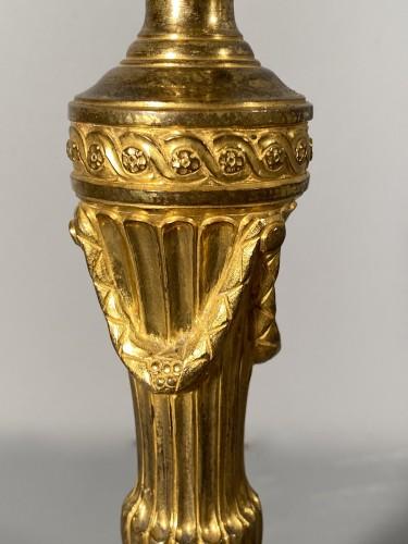 Pair of gilt bronze candlesticks, Paris, Louis XVI -