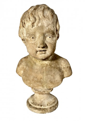 Plaster bust of a young boy , Workshop of Houdon circa 1790