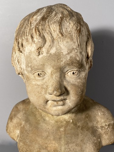 Plaster bust of a young boy , Workshop of Houdon circa 1790 -