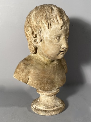 18th century - Plaster bust of a young boy , Workshop of Houdon circa 1790