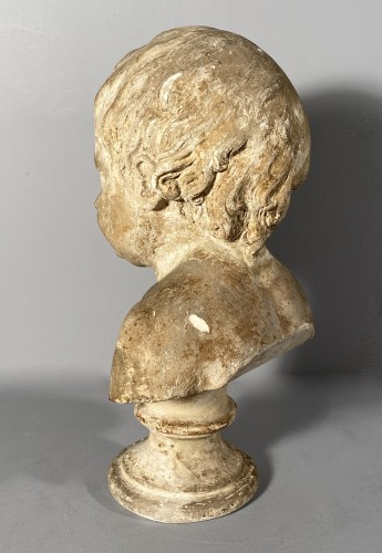 Antiquités - Plaster bust of a young boy , Workshop of Houdon circa 1790