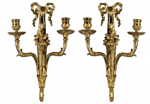 18th french pair of sconces with horns of abundance