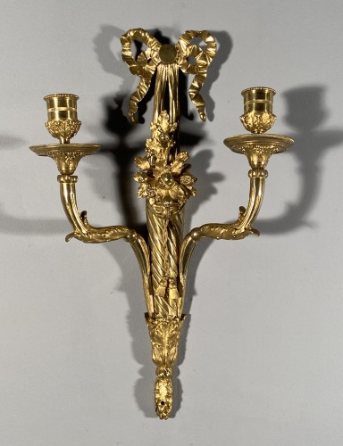 18th french pair of sconces with horns of abundance - Lighting Style Louis XVI