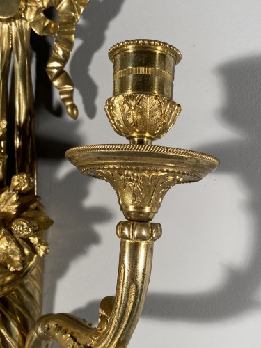 Louis XVI - 18th french pair of sconces with horns of abundance