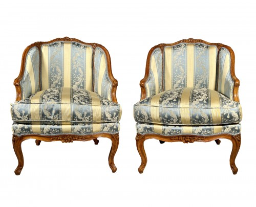 Pair of gondola armchairs by JB Boulard, Paris circa 1760