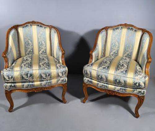 Pair of gondola armchairs by JB Boulard, Paris circa 1760 -