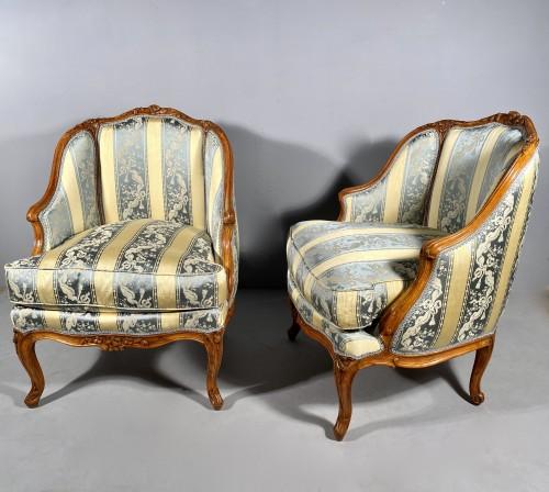18th century - Pair of gondola armchairs by JB Boulard, Paris circa 1760