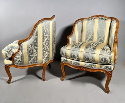 Pair of gondola armchairs by JB Boulard, Paris circa 1760 - Louis XV