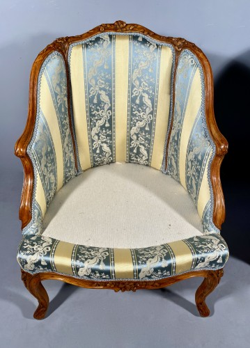 Louis XV - Pair of gondola armchairs by JB Boulard, Paris circa 1760