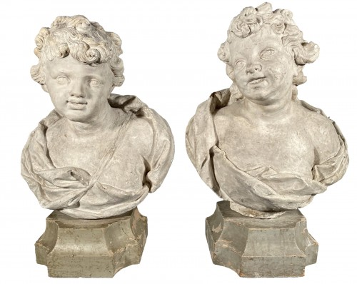 18th fine italian pair of plaster busts, Eros and Anteros