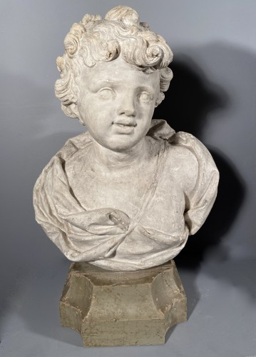 18th fine italian pair of plaster busts, Eros and Anteros -