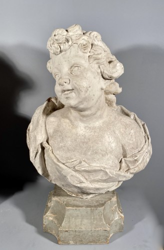 18th century - 18th fine italian pair of plaster busts, Eros and Anteros