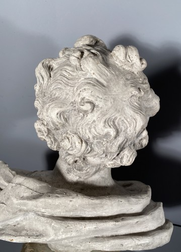 Louis XIV - 18th fine italian pair of plaster busts, Eros and Anteros